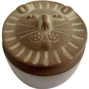 Vintage David Stewart Lion Face Trinket Box Lion's Valley Stoneware California Pottery