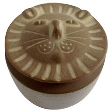 Vintage David Stewart Lion Face Trinket Box Lion's Valley Stoneware California Pottery