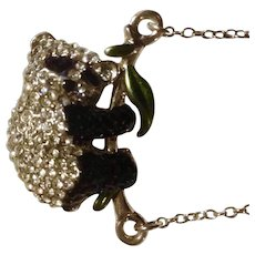 Adorable Sparkle Rhinestone Black & Faux Diamonds Silver-tone Panda Bear Necklace