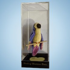 "World of Miniature Bears Blue Macaw Bird on Yellow Heart Stand 3-1/2""  #775 Collectible By Stacy"