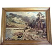 Figural Man Herding Sheep Along A River Road Landscape Oil Painting on Canvas