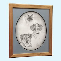 Sue Riddell, Original Graphite Sketch, A Cat and Two Dogs
