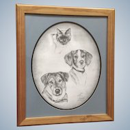 Sue Riddell, Original Graphite Sketch, A Cat and Two Dogs, Signed by Canadian Artist