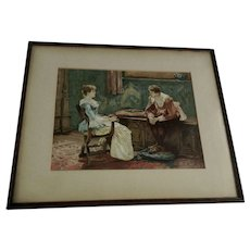 Chromolithography of a Victorian Man and Woman in an Interior, Color Print