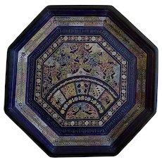 Mexican Batea Wood Tray Hand Painted Lacquer Olinala Folk Art