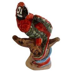 Vintage Macaw Tropical Red Parrot Bird On Tree Branch Casals Peru Terra-cotta Peruvian Folk Art Figurine