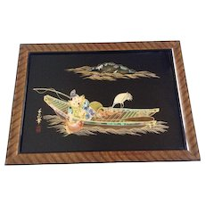 Reverse Glass Painting Asian Man Fishing Signed By Artist Abalone Shell, Gorgeous Mother of Pearl Inlay with Gold painted Accents