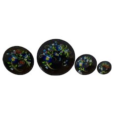 Vintage Black Lacquerware Batea Wood Plate Set of 4, Blue Flowers and Red Berries Mexico