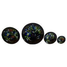 Black Lacquerware Batea Wood Plates Blue Flowers Mexico
