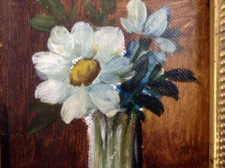 Small Naive Still Life Flowers In Vase Oil Painting On Canvas