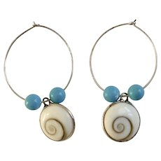Vintage Sea Shell Earrings with Blue Beads For Pierced Ears