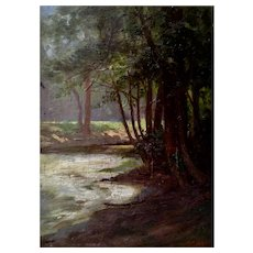R.H. Gates Trees by a River Landscape Oil Painting on Board 1907 Signed By Artist