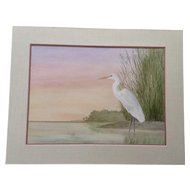 Paul Patterson, White Crane Bird At Edge Of Swamp Watercolor Painting Works on paper Signed by Artist