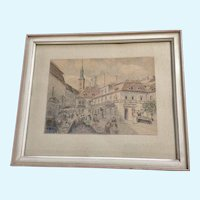 Architectural Watercolor Painting of a European City Monogrammed KK