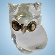 Vintage Glass Owl Made in France Paperweight F.M. 1987 Silver Plated Eyes and Nose Figurine