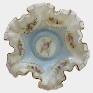 Vintage Charleton Ruffle Edge Milk Glass Dish Hand Painted Roses Gold-tone Trim Bowl