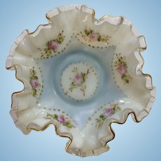 Vintage Charleton Ruffle Edge Milk Glass Dish Hand Painted Roses Gold-tone Trim Bowl