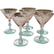 Vintage Etched Pink Depression Blue Stem Wine Glasses
