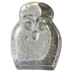 Art Glass Owl Figurine Clear Blenko Handcraft Mid-Century Paperweight