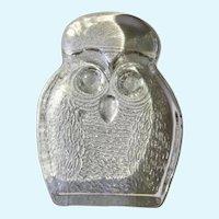 Blenko Art Glass Owl Clear Handcraft Paperweight Figurine