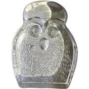 Clear Glass Owl Bird Art Glass Animal Figurine Blenko Handcraft Mid Century Bookend