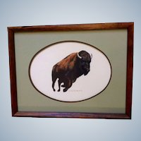 R. J. Englan, A Running Buffalo, Gouache Watercolor Painting Works on Paper, Signed by Artist