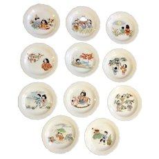 Vintage Miniature Porcelain Japanese Children Plates Signed on Back