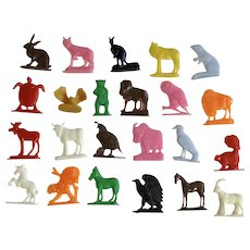 Mid-Century Animal Birthday Cake Topper Cupcake Mixed Colors Plastic Group of 23 Pieces