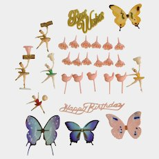 Mid-Century Little Girl Birthday Cake Toppers Cupcake Picks Pink & Mixed Colors Ballerina, Roses, Birds & Butterflies Plastic Group 28