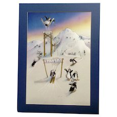 G Johns, Winter Olympics Pollimpics Penguins Skiing on Mountain Adorable Animation Anthropomorphic Watercolor Painting Works on Paper