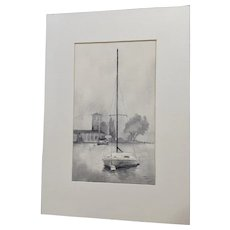 Bady,  Sailboat At Mooring Nautical Landscape Mono Tone Original Watercolor Painting Signed by Artist