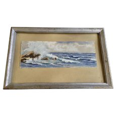 Francel Niswanger 1930 Seascape Watercolor in Original Frame Signed By Artist