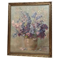 Jacques Bille (1880-1942), Vintage Still Life Colorful Wildflowers in Vase Lithograph Print