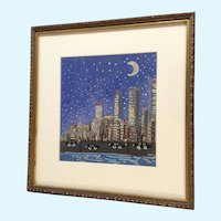 Nocturnal Cityscape Naive Watercolor Painting