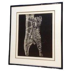 J Long, Kitten Cat on a Ballerina Foot Scratch Painting Signed by Artist