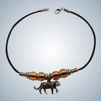 Wonderful Tiger Charm on Beaded Ankle Bracelet Costume Jewelry