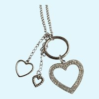 "Rhinestone Hearts Pendant on Silver-tone Chain Necklace Costume Jewelry 27"" Long"