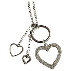 """Silver-tone and Rhinestone Hearts Pendant on Silver-tone Chain Necklace Costume Jewelry 27"""" Long"""