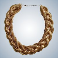 "Gold-tone Woven Chain Necklace Costume Jewelry 20-1/4"" Long Beautiful"