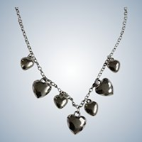 Heart Charms Continuous Silver-tone Chain Necklace with Faux Diamond Rhinestones