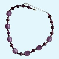 "Purple Faux Amethyst Beaded Necklace Costume Jewelry 22-1/2"" Long"