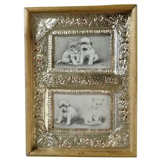 V Colby, Kitten Cats & Bull Dog Puppy Early 1900's Framed Two Postcards