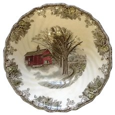 """Johnson Brothers The Friendly Village, Autumn Mist, 8-1/4"""" Round Vegetable Bowl Made in England' Backstamp By Johnson Brothers Discontinued 1953 - 2003"""