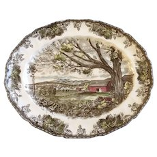 """13-1/2"""" Oval Serving Platter The Friendly Village, Harvest Time' Made in England' Backstamp By Johnson Brothers Discontinued 1953 - 2003"""