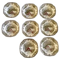 "8 Johnson Brothers The Friendly Village Covered Bridge Square 6-1/4"" Cereal Bowls Dishes England"