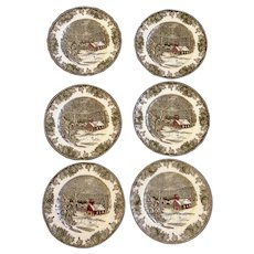"""6 Johnson Brothers The Friendly Village The School House  9 3/4"""" Dinner Plates, Dishes Made in England"""