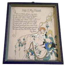 Vintage Poem Pal O' My Heart 1920's Art Deco Print Framed