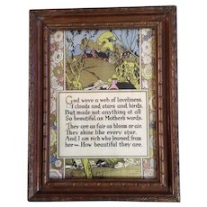 Vintage Mother's Poem 1920's Art Deco Print Framed