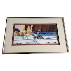 Carlos Begay, Navajo American Indian Hogan House In Snow Watercolor Painting Signed by Artist