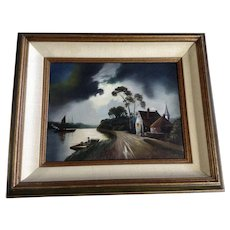 Abidilla, Night Landscape, A Road on the River Oil Painting